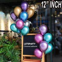 "50 PCS CHROME BALLOONS METALLIC LATEX PEARL 12"" Helium Balloon Party Celebration"