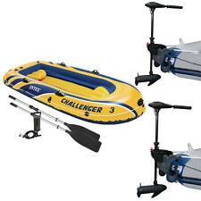 Intex Challenger 3 Inflatable Raft Boat Set & 2 Eight Speed Trolling Motors