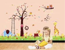 Con Dibujo De Búho pegatinas de pared aves Mono Jirafa Woodland Animales hierba Arte Decoración Infantil