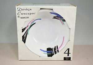 "Design Concept Liza By Newcor MCM Vintage Retro 6-7/8"" Cereal Bowls IOB Set Of 4"