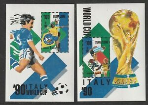 SIERRA LEONE 29 APRIL 1989 FOOTBALL WORLD CUP 90 ITALY BOTH MINIATURE SHEETS MNH