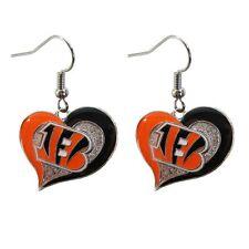 Cincinnati Bengals Swirl Heart Dangle Earrings