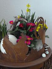 Edelrost Schale Rund Rost Metall Hahn Deko Dekoration Hasen Ostern Hunh Eier