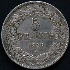 BELGIQUE 5 FRANCS LEOPOLD PREMIER 1848 ARGENT