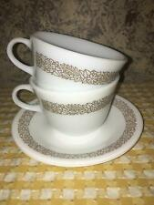 2 Woodland Brown vintage Pyrex TableWare restaurant milk glass cups saucers