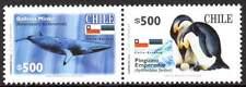 CHILI / CHILE 2006. Faune Antarctique. Cétacé et oiseau (2 se tenant).