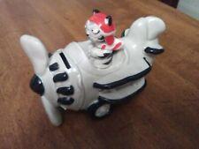Japan Made Ceramic 305 Takahaski Coin Bank Airplane Tom Cat As Snoopy Red Baron