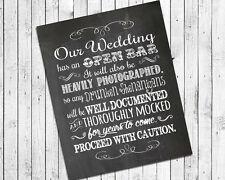 Rustic Wedding Faux Chalkboard 8x10 Print - OPEN BAR - Drunken Shenanigans