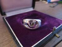 Ausgefallener 925 Silber Ring Groß Spirale Rillen Abstrakt  Retro Mystisch Top