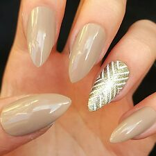 10 HAND PAINTED NUDE & GOLD GLITTER AZTEC PROM STILETTO FALSE FAKE NAILS SET