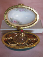 Vintage Hand Painted Egg with Perfume Bottle Trinket Box