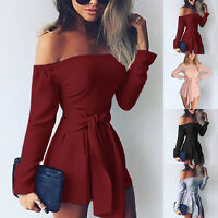 Womens Ladies Summer Off Shoulder Playsuit Romper Shorts Jumpsuit Trousers S-XL