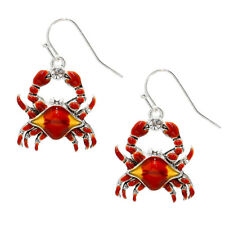 Red Crab Fashionable Earrings - Enamel - Fish Hook - Sparkling Crystal