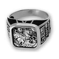 SILVER RING ST. GEORGE KILLING THE DRAGON (SKU 14038 W 11.4 g, Size 19 mm)