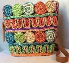 Naturalizer Straw Shoulder Bag Purse Multi Colored Boca Orange Yellow Green