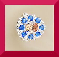 New SIZE 7.5  MORGANITE BLUE TOPAZ SILVER Cocktail RING FREE SHIPPING #136
