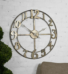 "DELEVAN INDUSTRIAL INSPIRED XXL 32"" FORGED METAL ROUND WALL CLOCK UTTERMOST"