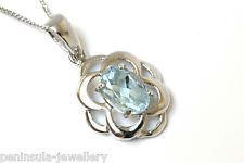 "9ct White Gold Celtic Blue Topaz Pendant and 18"" Chain Gift Boxed Necklace"