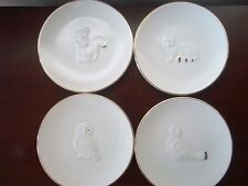 Elegant ceramic gold plated touches Set of 4 appetizer plates dishwasher safe