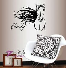 Vinyl Decal Horse Mustang Head Customized Name Animal Any Room Wall Sticker 1385