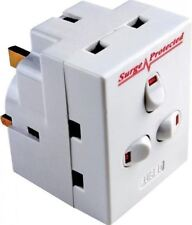 2 X 3 Way Plug-in Surge Protected Neon Switched Socket Adaptor 13a UK Mains Plug