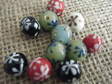 10 Round Mixed Colour Porcelain Beads Flower Design 10mm Round