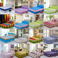 16 Colors Bed Sheet Skirt Flat Sheet Set and Pillowcase Full Queen King Size