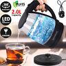 2.0L Electric Glass Kettle Blue LED Illuminated 360° Black Cordless Portable Jug