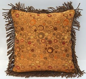 Bronze Raw Silk, Jacquard with Marbles, Bullion Fringe Designer Throw Pillow