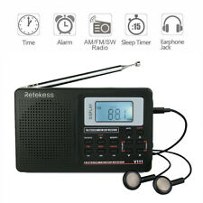 Portable FM/MW/SW Radio Receiver Stereo DSP Full Band Digital Clock Alarm Black