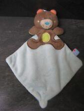 doudou ours marron bleu sucre d'orge