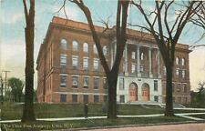 Utica NY Folks in Winter Clothes & Bare Trees in Front of Free Academy~1910 pc
