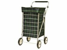 4 Wheel Shopping Trolley Cart Luggage Light Weight With Adjustable Handle Tartan