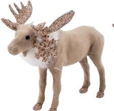 8cm Elch niedlicher Weihnachtselch mit Plüschfell neu Schal und Mütze