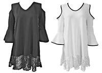 Womens Cut Out Shoulder Lace Evening Hi Lo Ladies Midi Skater Dress Size 8-14