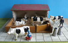 Early 54mm Lead Farm COWS + BULL + FARMER + ANIMAL SHELTER incl Bellowing Cow