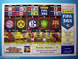 Panini Adrenalyn XL FIFA 365 2016 Team Logos, Team Mate, Alle Karten Nr. 1 - 51
