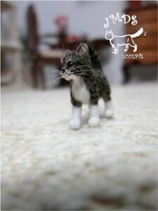 OOAK Dollhouse Miniature Handmade Tabby kitten, Cat Realistic 1:12 by JMDS