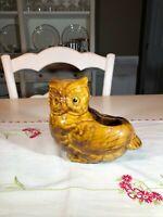 Vintage Owl Planter, Yellow/Brown Glaze