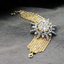 Designer Crystal Diamante Floral Flower Gold Tone Alloy Mesh Wide Cuff Bracelet