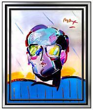 50x38 PETER MAX Original Acrylic Painting NEO MAN Signed Pop Art PROFILE oil