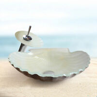 Artistic White Tempered Glass Seashell Countertop Vanity Vessel Sink&Mixer Taps