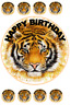 TIGER BIRTHDAY EDIBLE CAKE & CUPCAKE TOPPER/DECORATION WAFER PAPER/ICING