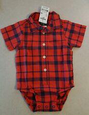 NWT Osh Kosh Infant Boys 9 MONTH Dress Shirt Bodysuit SHORT SLEEVE Red #377416