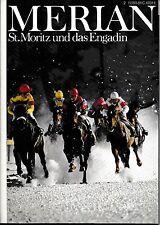 St. Moritz Engadin Schweiz Merian Heft 02 / 1981 Reiseführer Bildband Geschichte