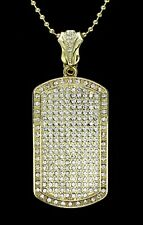 "Mens XL Icy Dog Tag Pendant 14k Gold Plated 24"" Ball Necklace Hip Hop"