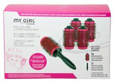 Essex Girl  New Pink Roll and Click Hair Rollers Curl Brush Essex Blow Dry Small