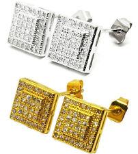 Women Men Gold Silver Crystal Rhinestone Iced Out Square Ear Stud Earrings C017