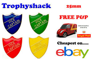 Vice Captain Shield Enamel Badges - Free P&P 4 colours Red Blue Green Yellow