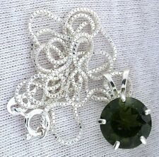 3.63 Carat 11mm Round Moldavite Gem Gemstone PURE Sterling Silver Pendant Chain